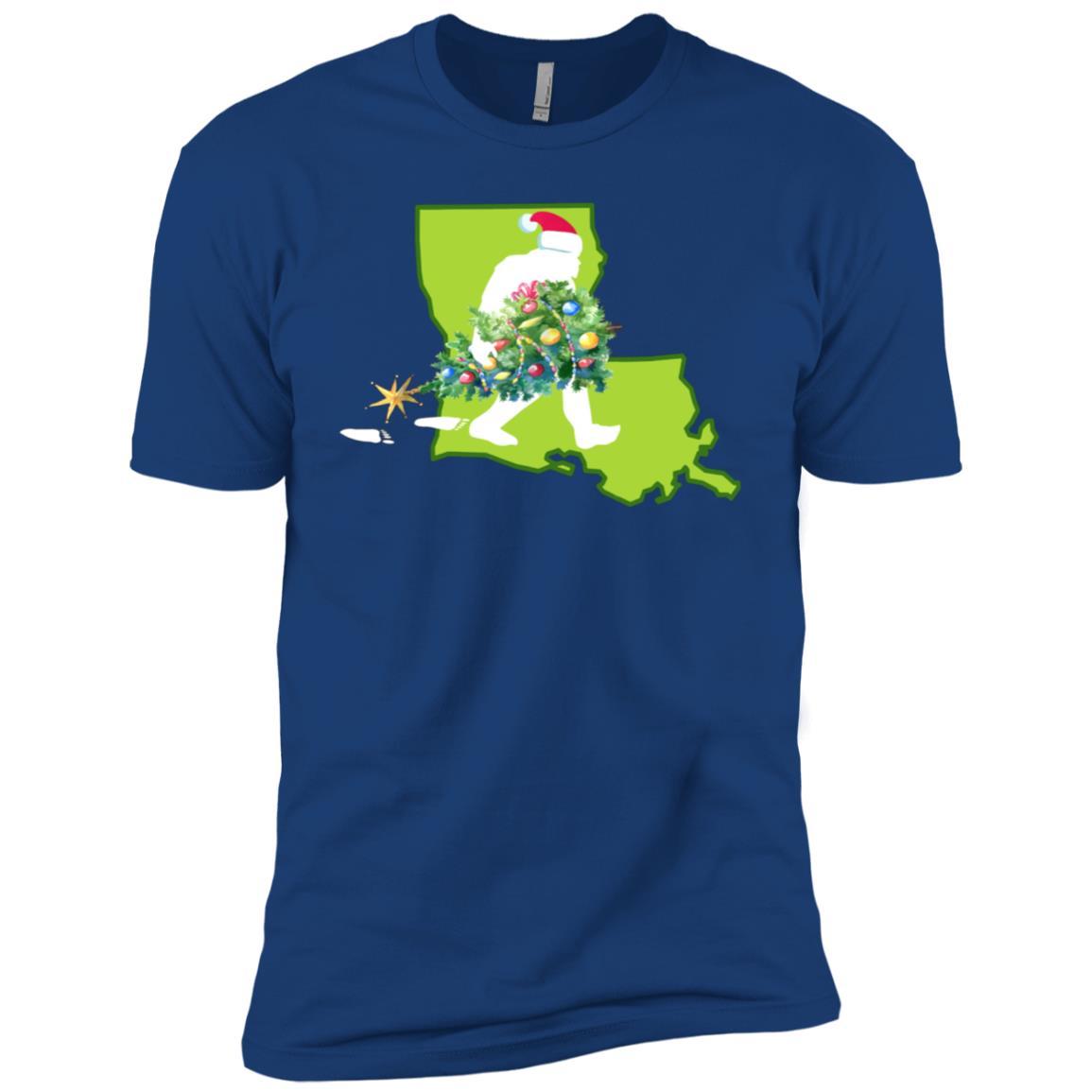 Louisiana Bigfoot State Christmas Tree Men Short Sleeve T-Shirt