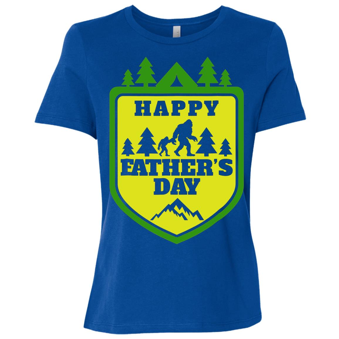 Mens Bigfoot and His Son Funny Dad Father's Day Yeti Tees Women Short Sleeve T-Shirt