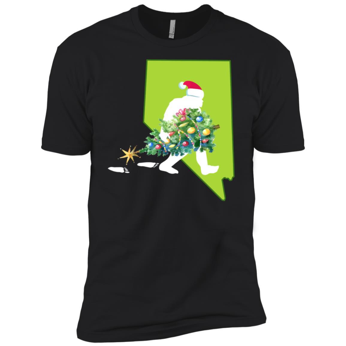 Nevada Bigfoot State Christmas Tree Men Short Sleeve T-Shirt