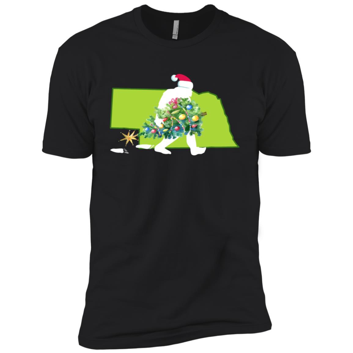Nebraska Bigfoot State Christmas Tree Men Short Sleeve T-Shirt