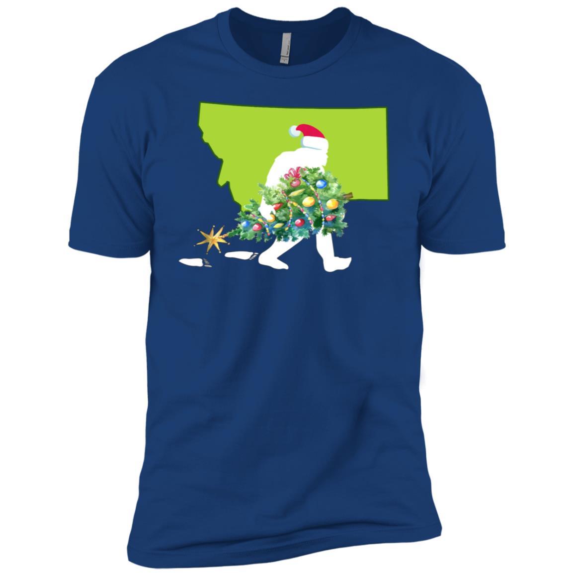 Montana Bigfoot State Christmas Tree Men Short Sleeve T-Shirt