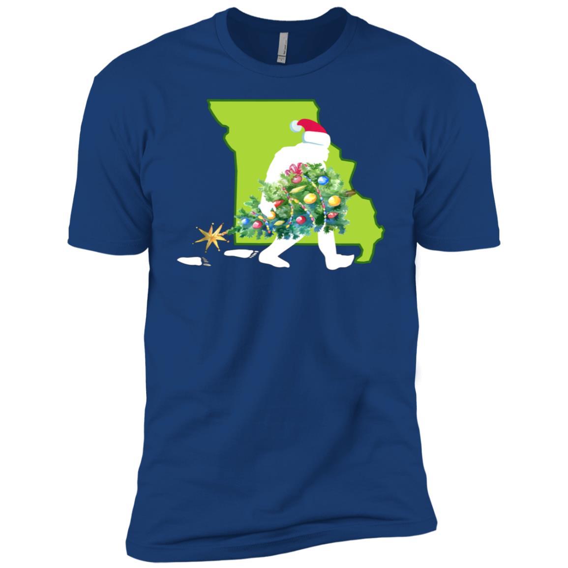 Missouri Bigfoot State Christmas Tree Men Short Sleeve T-Shirt