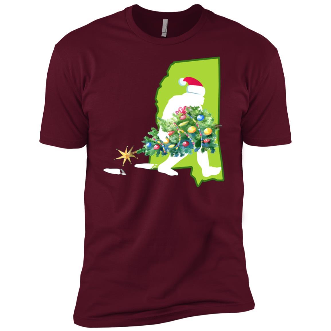 Mississippi Bigfoot State Christmas Tree Men Short Sleeve T-Shirt