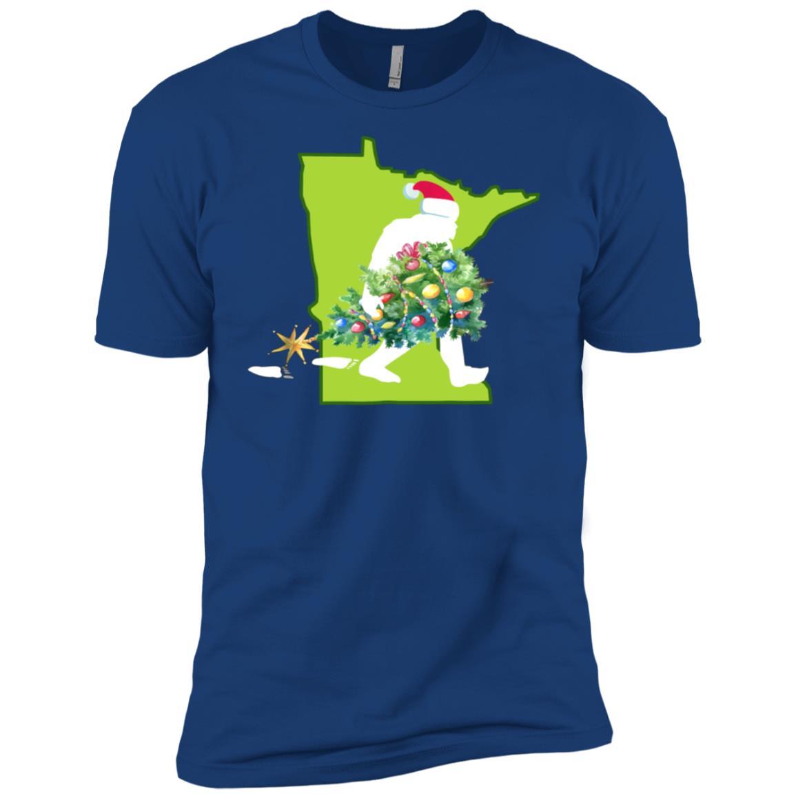 Minnesota Bigfoot State Christmas Tree Men Short Sleeve T-Shirt