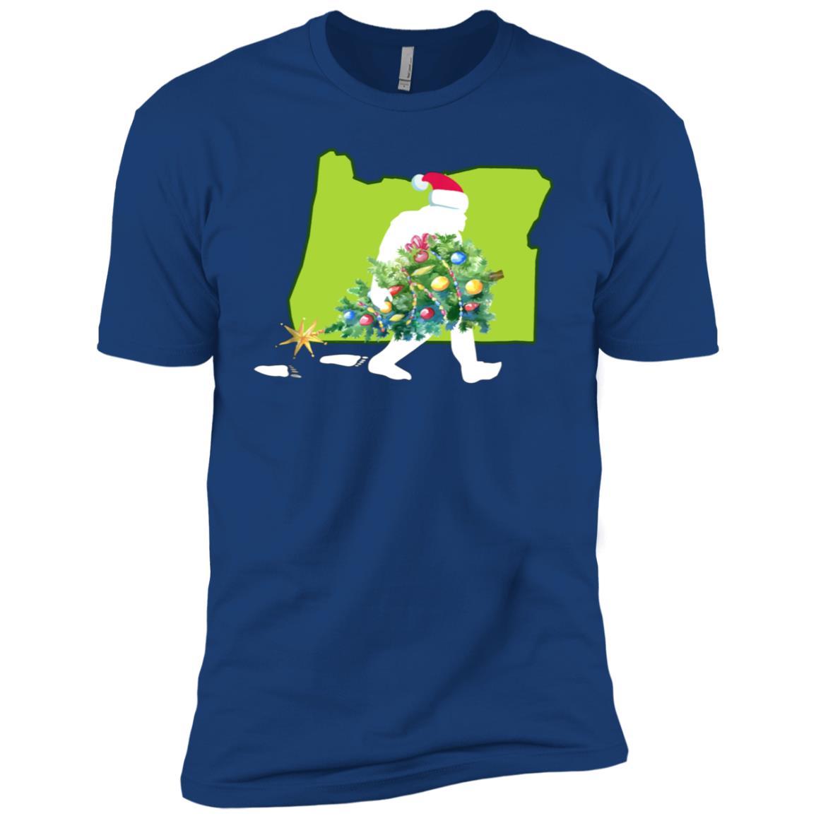 Oregon Bigfoot State Christmas Tree Men Short Sleeve T-Shirt