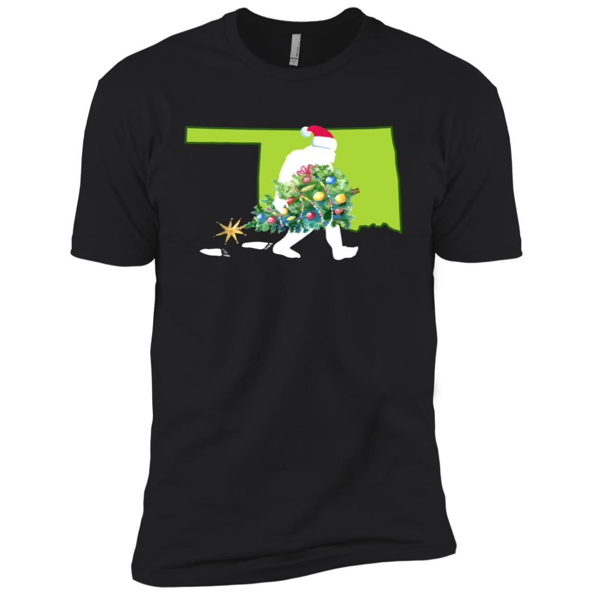 Oklahoma Bigfoot State Christmas Tree Men Short Sleeve T-Shirt