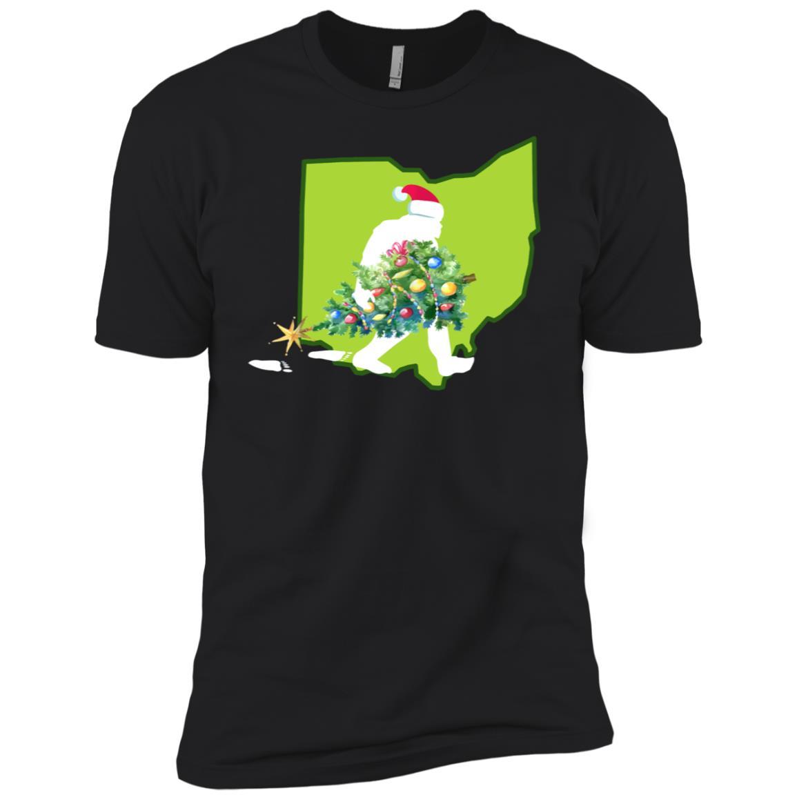 Ohio Bigfoot State Christmas Tree Men Short Sleeve T-Shirt