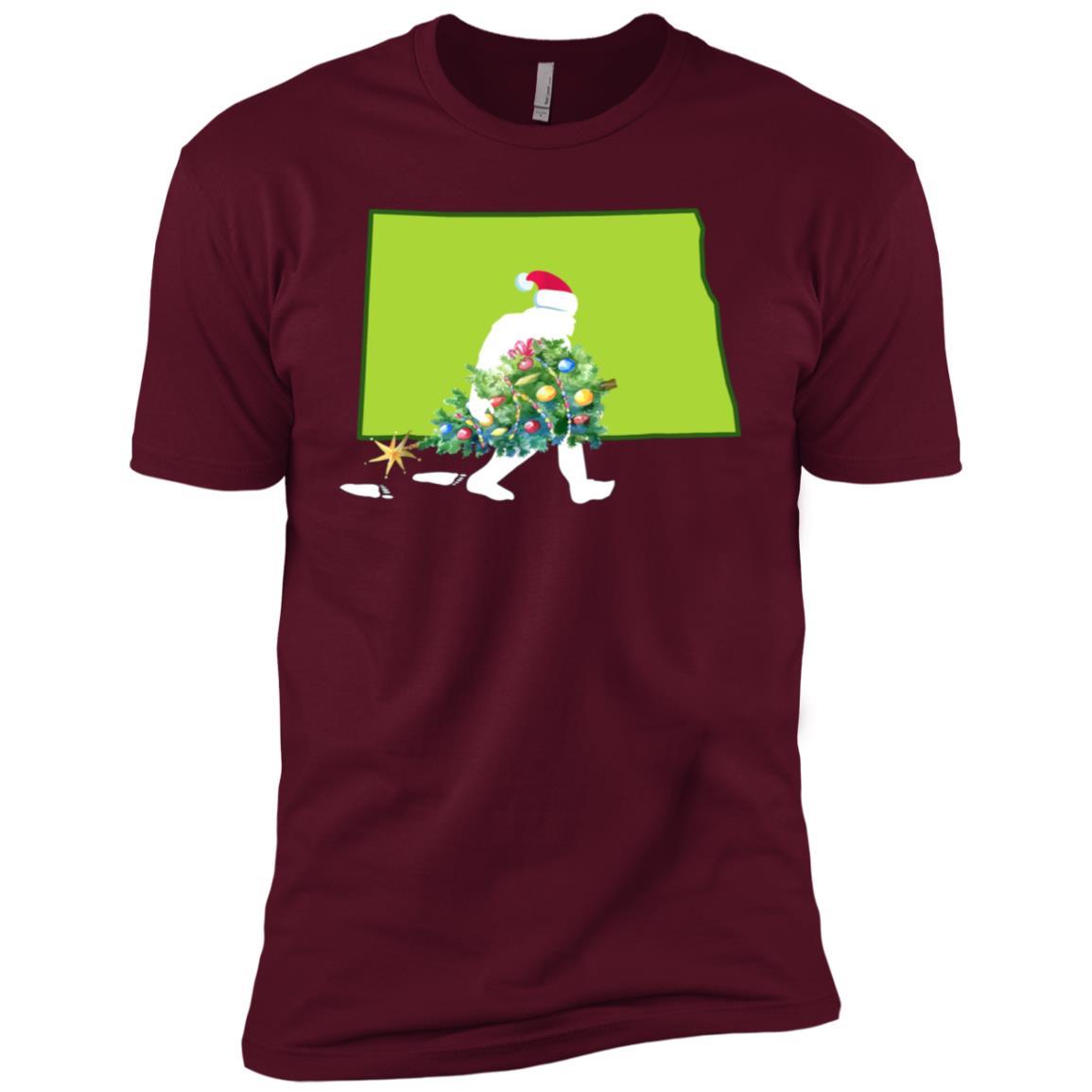 North Dakota Bigfoot State Christmas Tree Men Short Sleeve T-Shirt