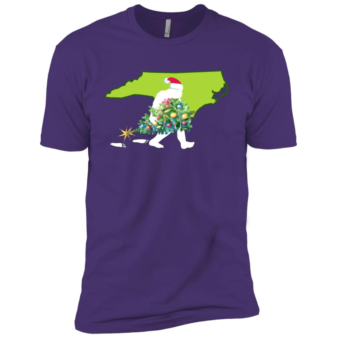 North Carolina Bigfoot State Christmas Tree Men Short Sleeve T-Shirt