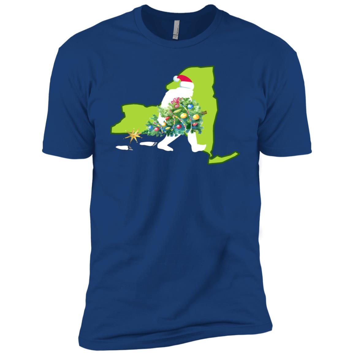 New York Bigfoot State Christmas Tree Men Short Sleeve T-Shirt