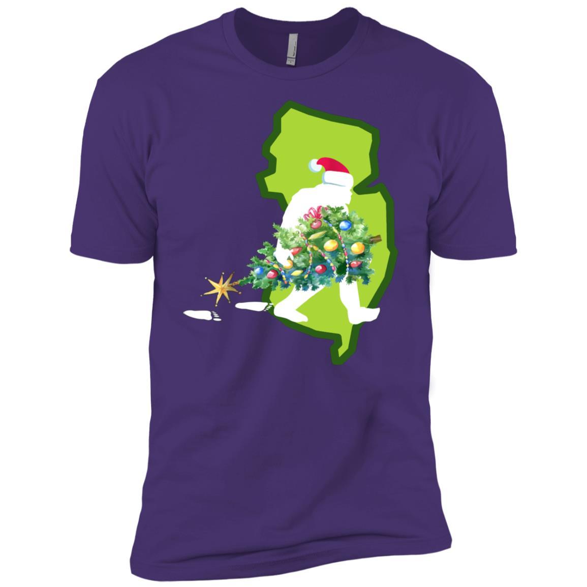 New Jersey Bigfoot State Christmas Tree Men Short Sleeve T-Shirt