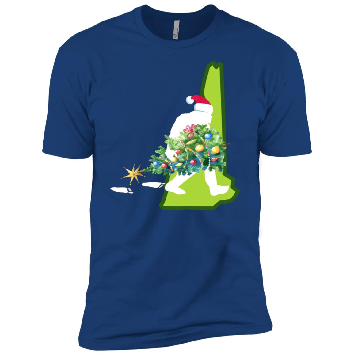 New Hampshire Bigfoot State Christmas Tree Men Short Sleeve T-Shirt