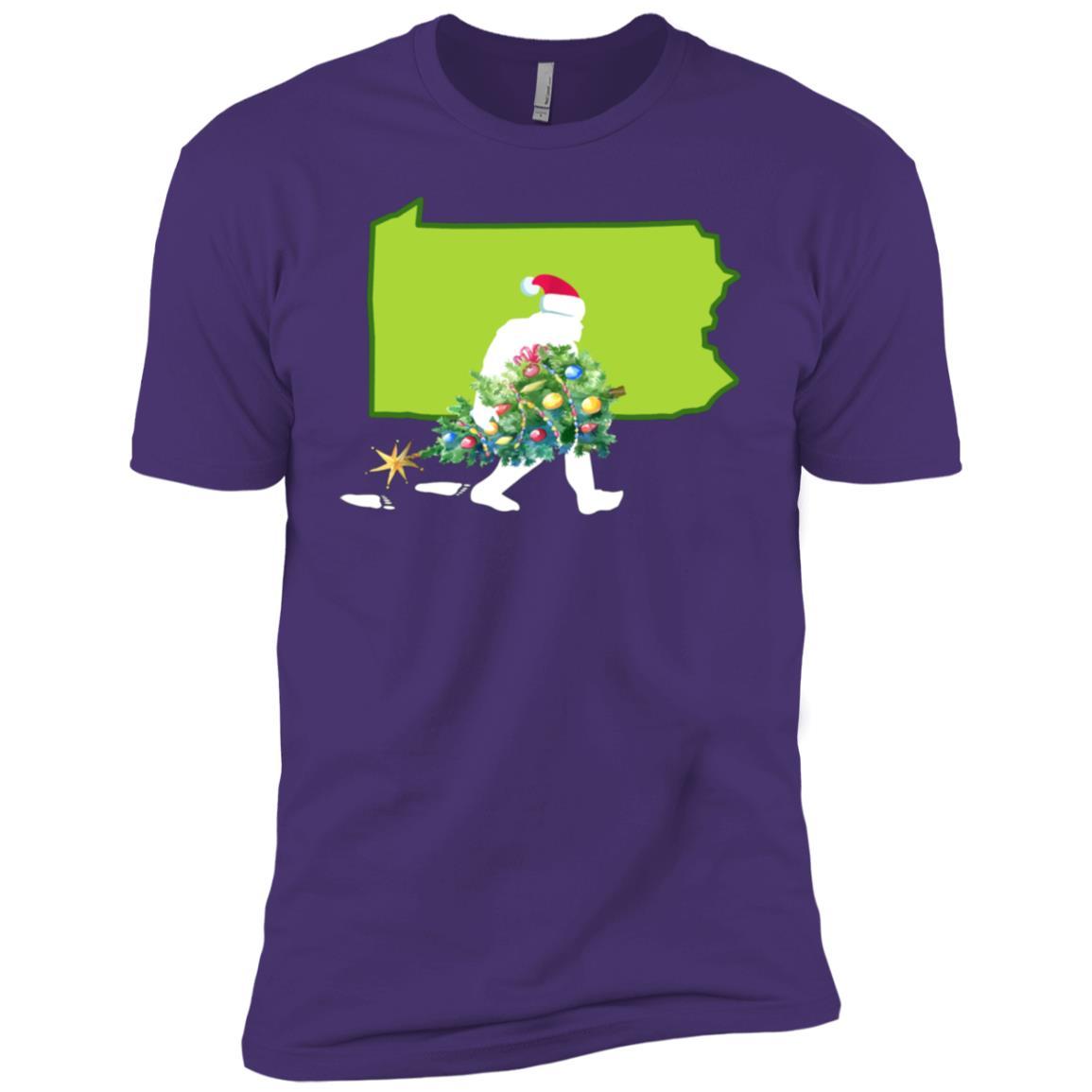 Pennsylvania Bigfoot State Christmas Tree Men Short Sleeve T-Shirt