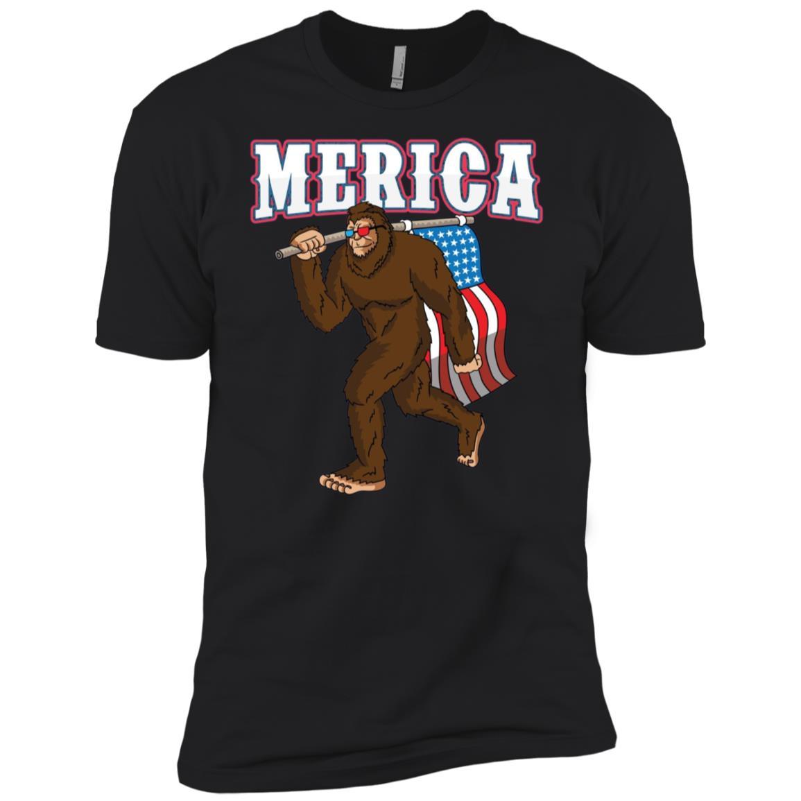 Patriotic Bigfoot USA Merica 4th of July Men Short Sleeve T-Shirt
