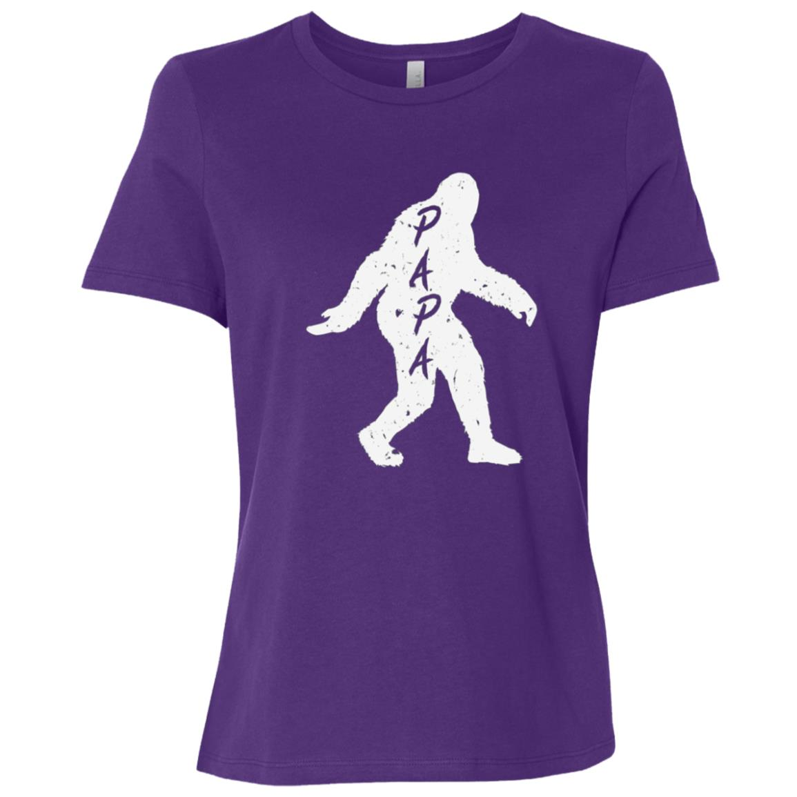 Papa Bigfoot Sasquatch Yeti Fathers Day Gift Tee Women Short Sleeve T-Shirt