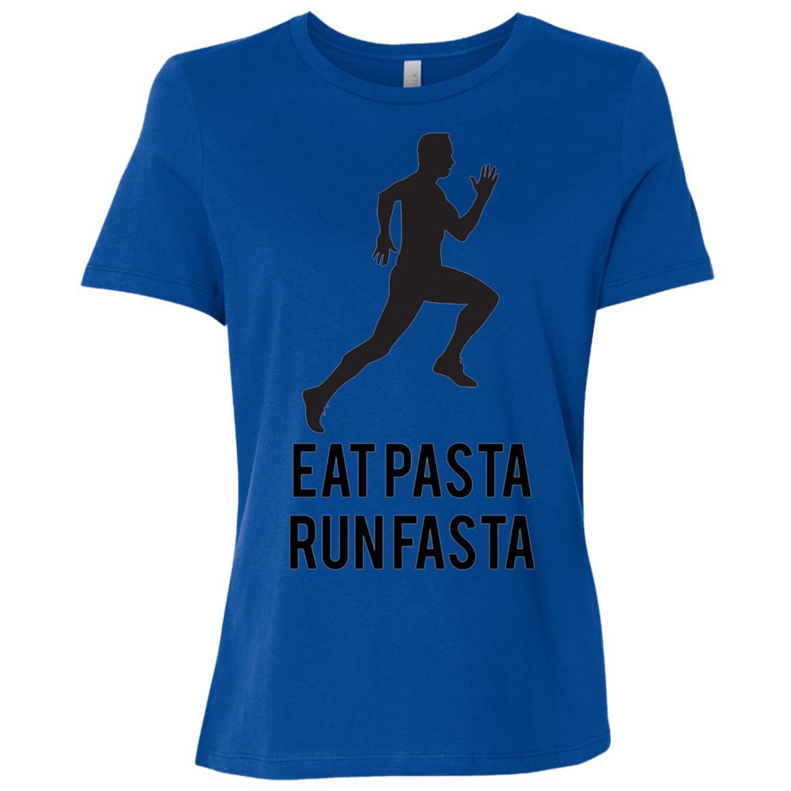 Eat Pasta Run Fasta Fun Running Gift for Athletes Women Short Sleeve T-Shirt