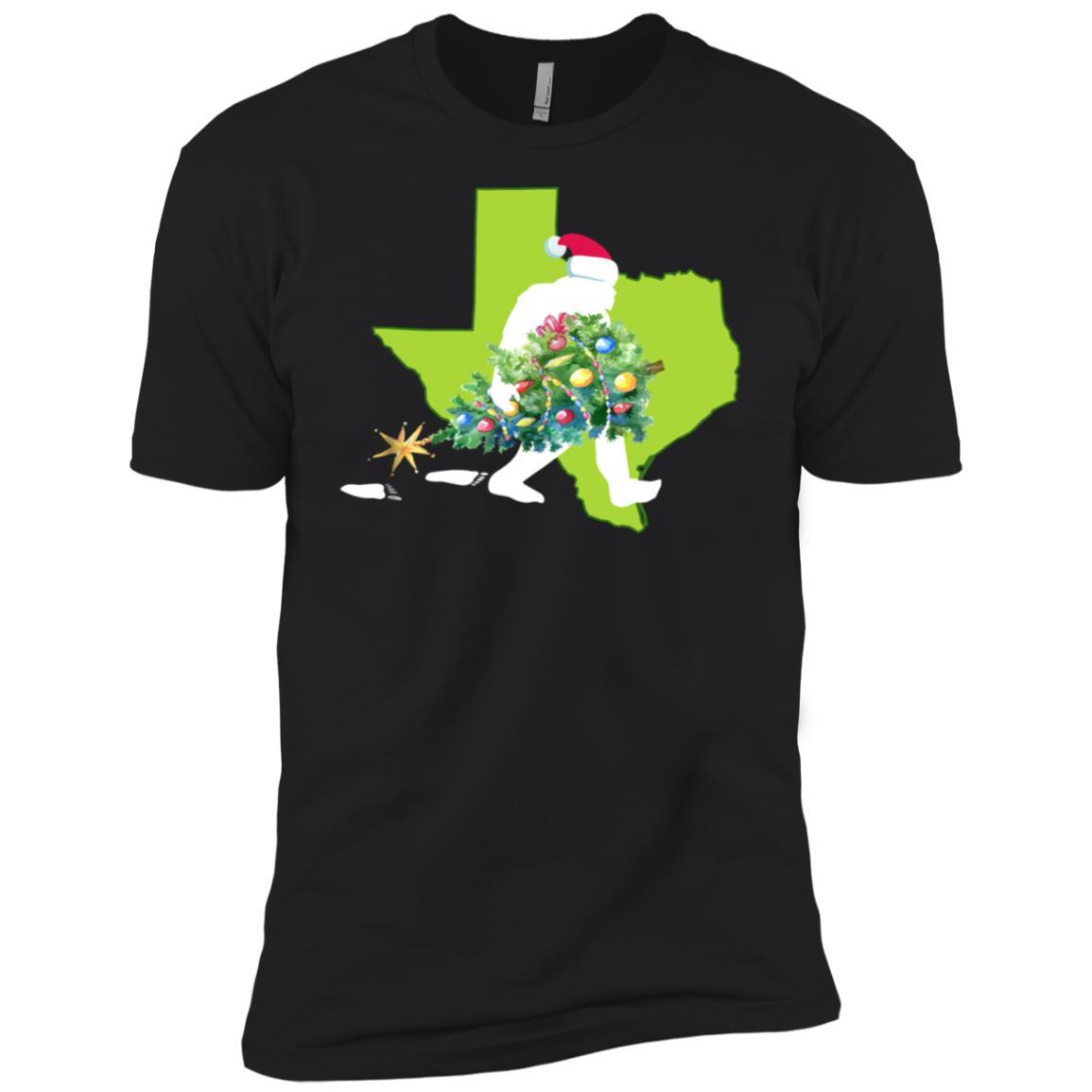 Texas Bigfoot State Christmas Tree Men Short Sleeve T-Shirt