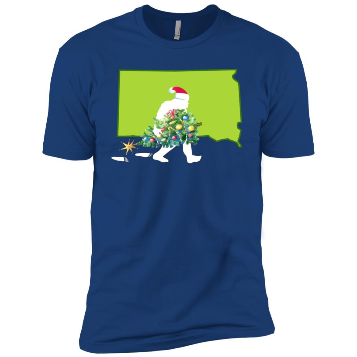 South Dakota Bigfoot State Christmas Tree Men Short Sleeve T-Shirt