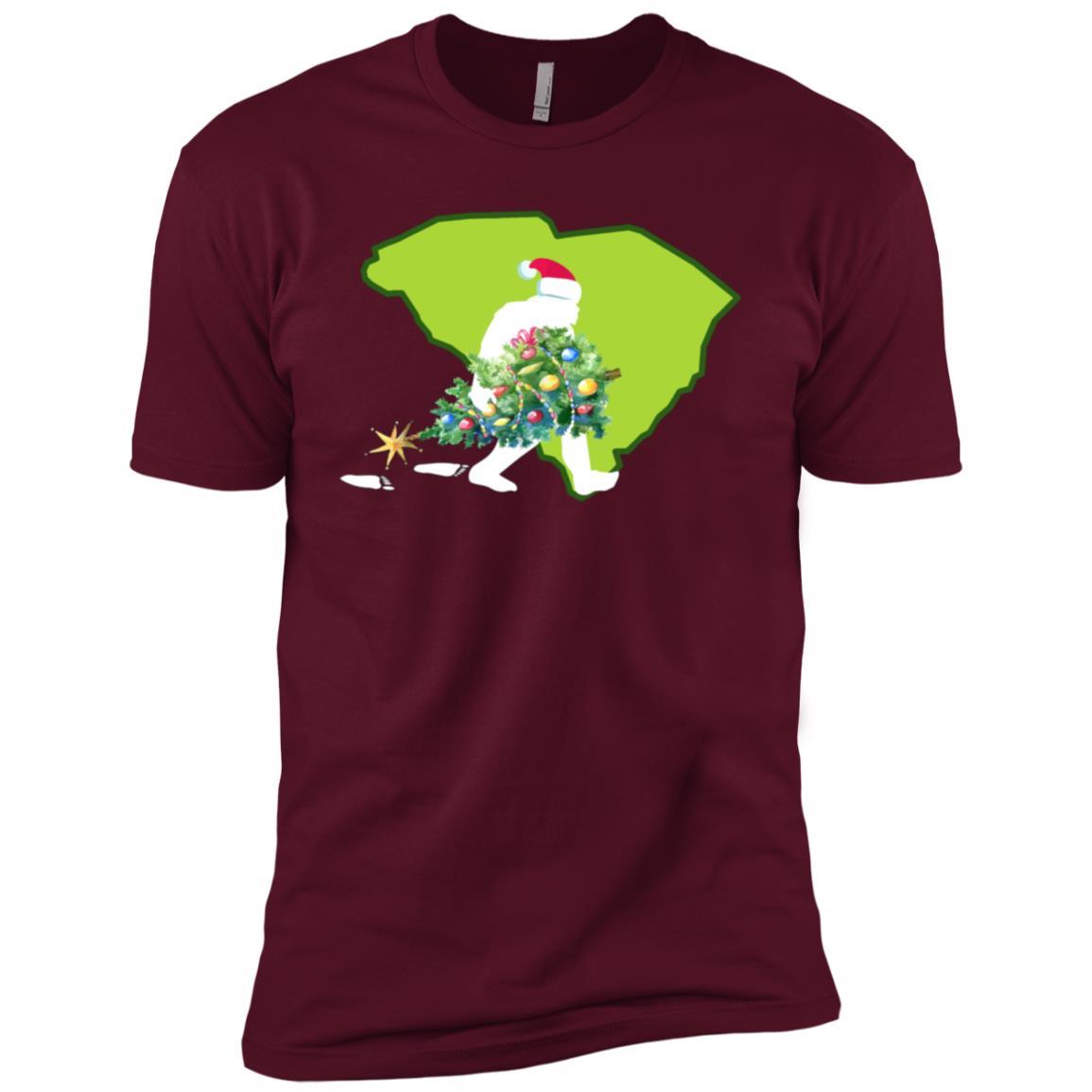 South Carolina Bigfoot State Christmas Tree Men Short Sleeve T-Shirt