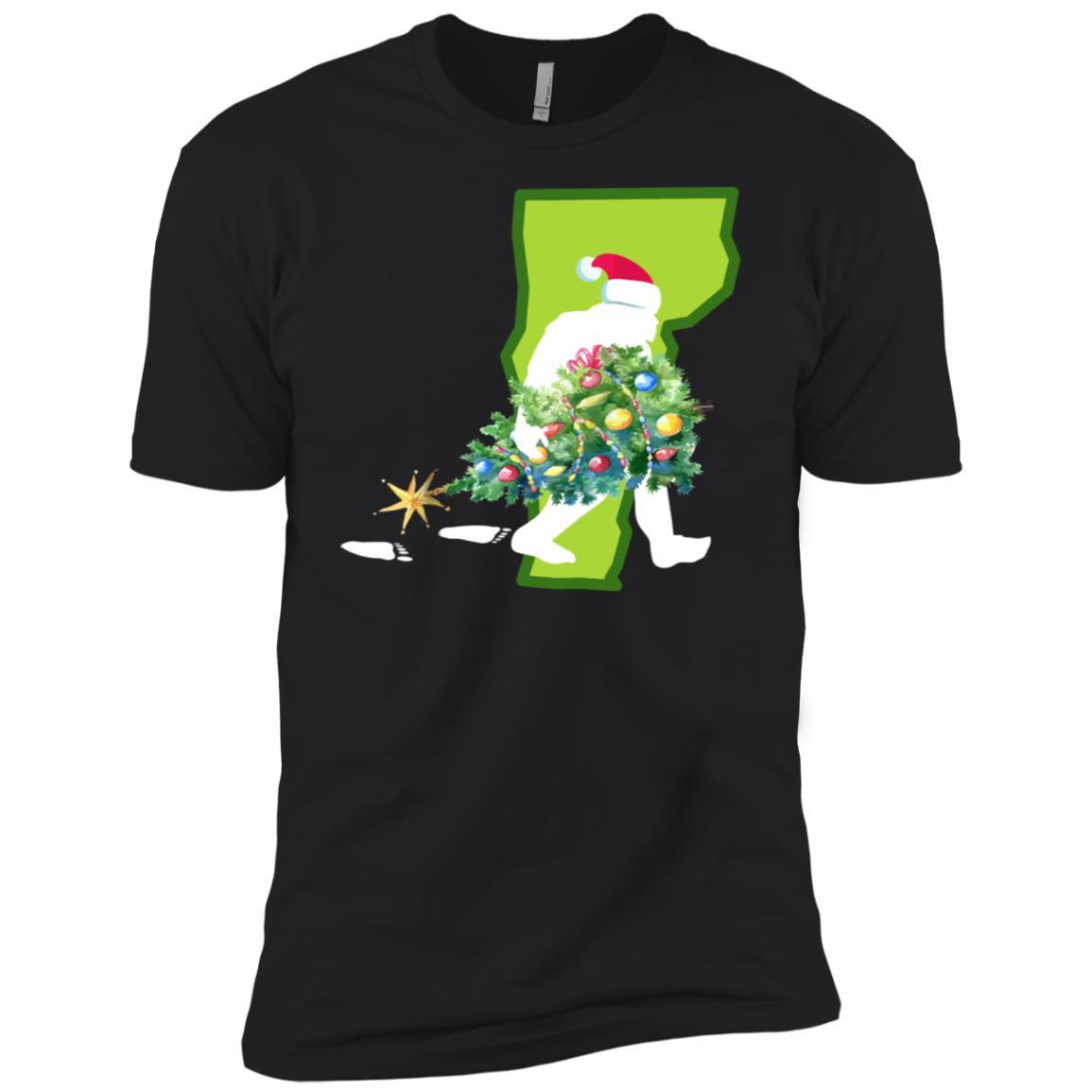 Vermont Bigfoot State Christmas Tree Men Short Sleeve T-Shirt