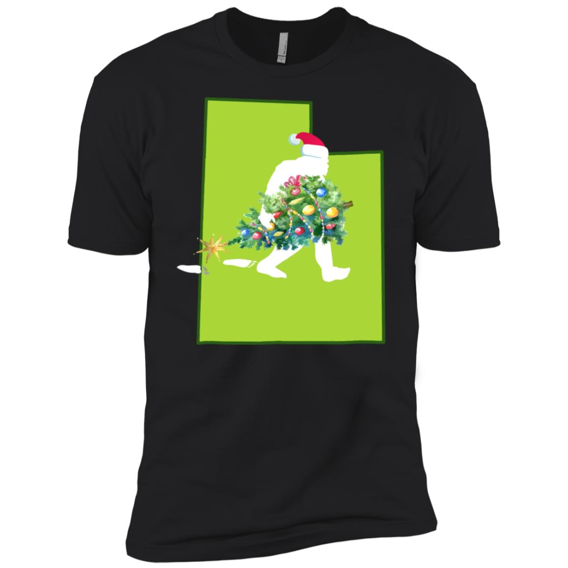 Utah Bigfoot State Christmas Tree Men Short Sleeve T-Shirt