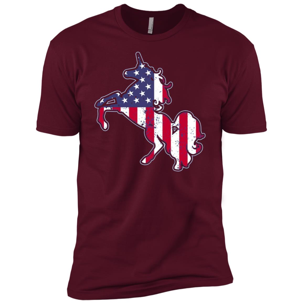 Unicorn USA Flag 4th July 4 Stars Stripes Men Short Sleeve T-Shirt