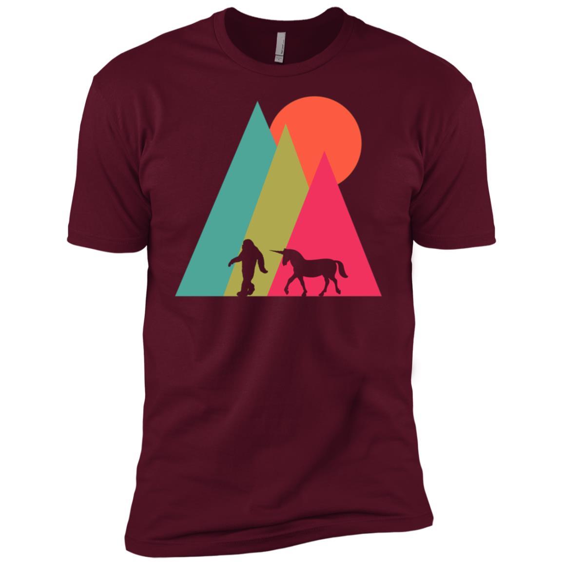 Unicorn Bigfoot Graphic Tee Mythical Creatures Men Short Sleeve T-Shirt