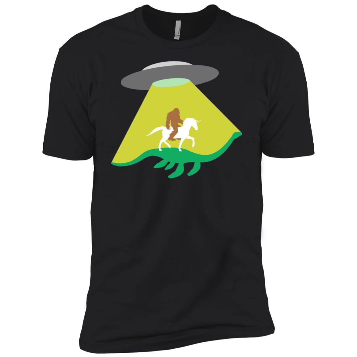 UFO Abducting Loch Ness Unicorn Bigfoot Men Short Sleeve T-Shirt