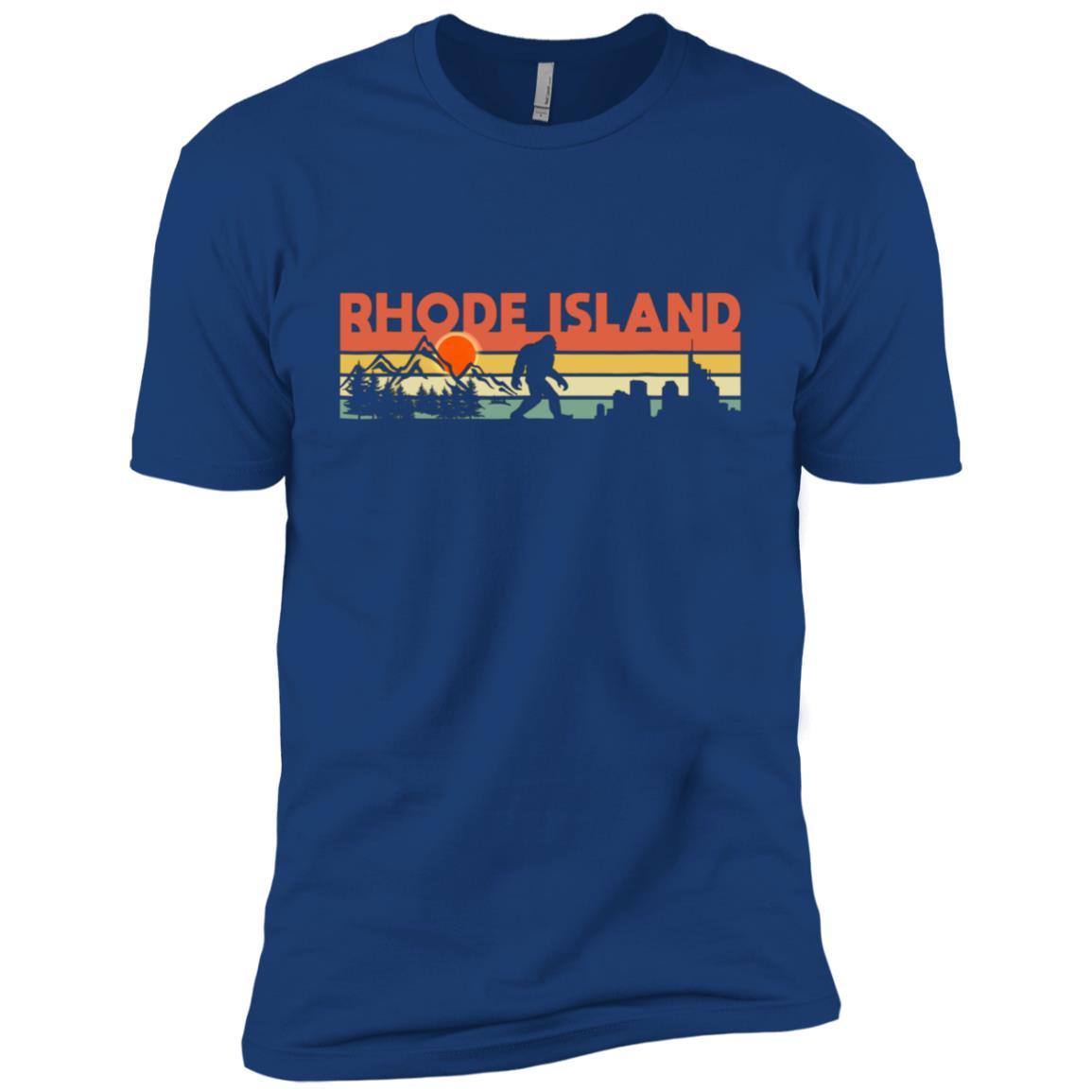 Vintage Rhode Island Bigfoot Silhouette Sun Men Short Sleeve T-Shirt