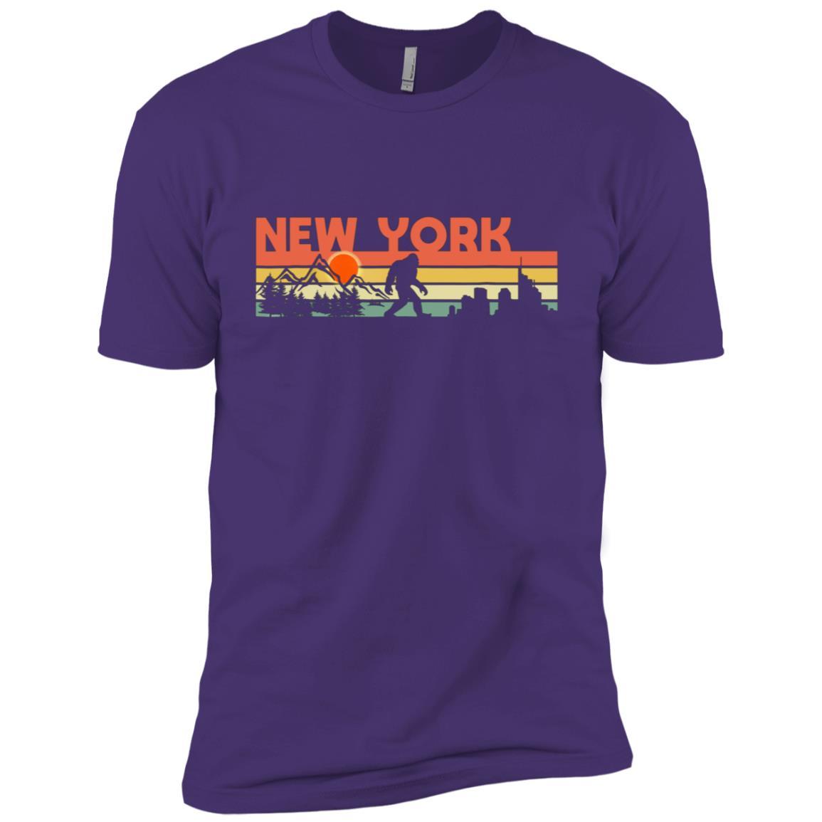 Vintage New York Bigfoot Silhouette Sun – Believe! Men Short Sleeve T-Shirt