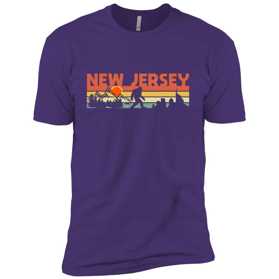 Vintage New Jersey Bigfoot Silhouette Sun – Believe! Men Short Sleeve T-Shirt