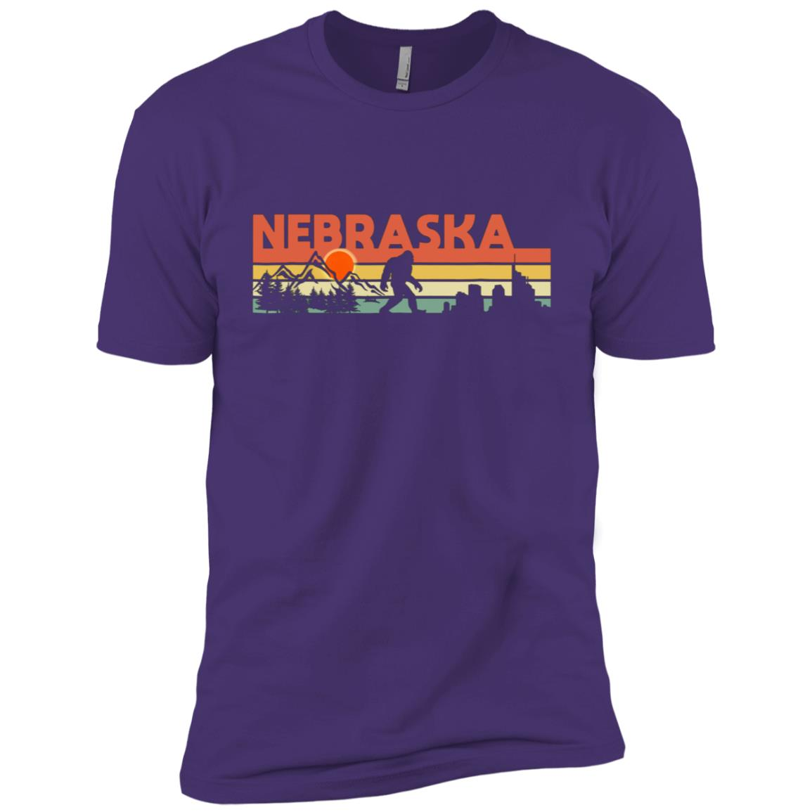 Vintage Nebraska Bigfoot Silhouette Sun – Believe! Men Short Sleeve T-Shirt