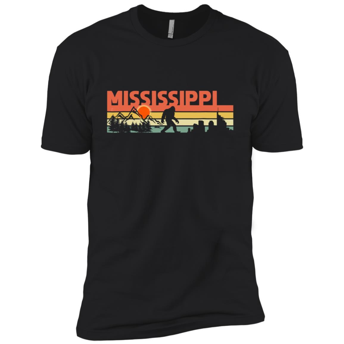 Vintage Mississippi Bigfoot Silhouette Sun – Believe Men Short Sleeve T-Shirt
