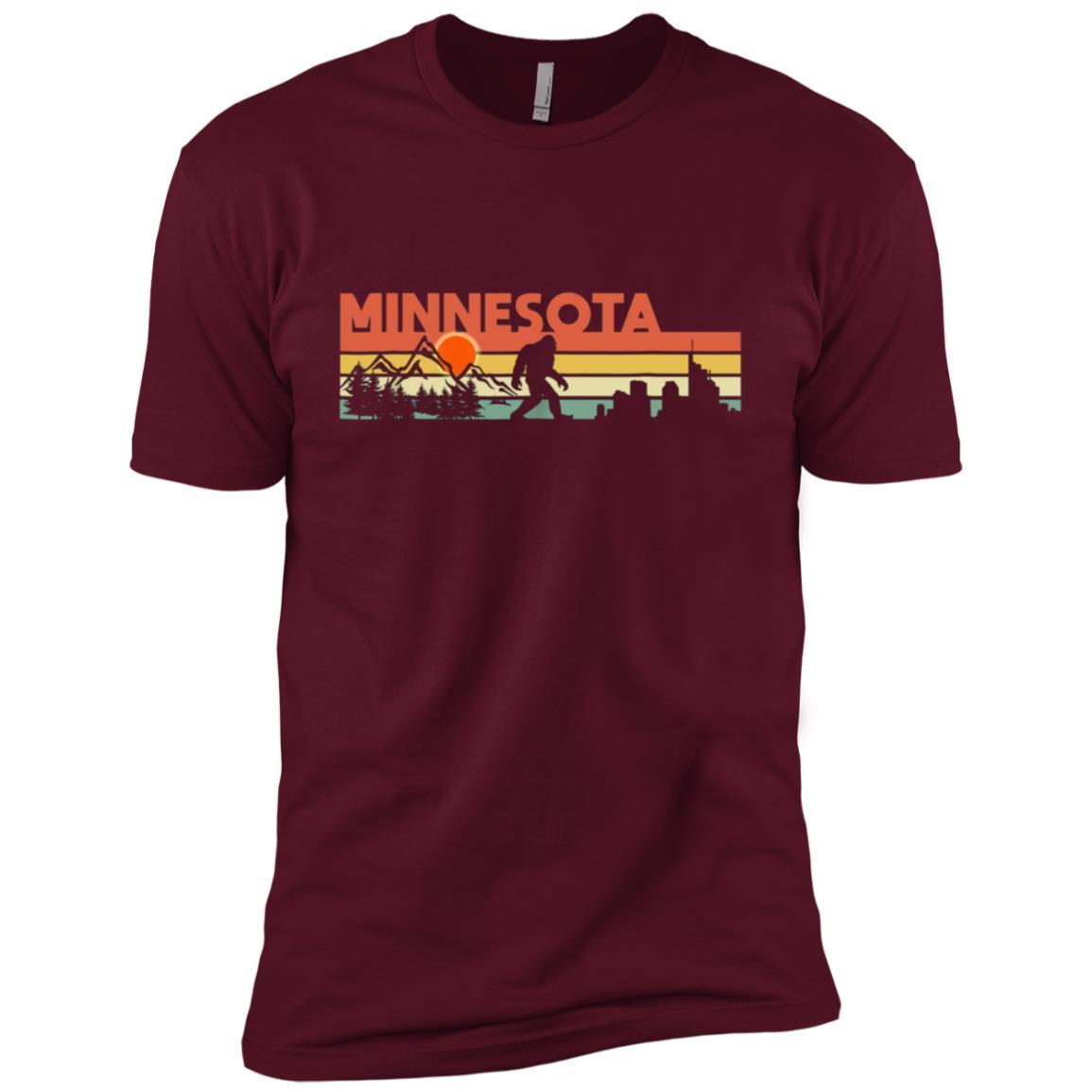 Vintage Minnesota Bigfoot Silhouette Sun – Believe! Men Short Sleeve T-Shirt