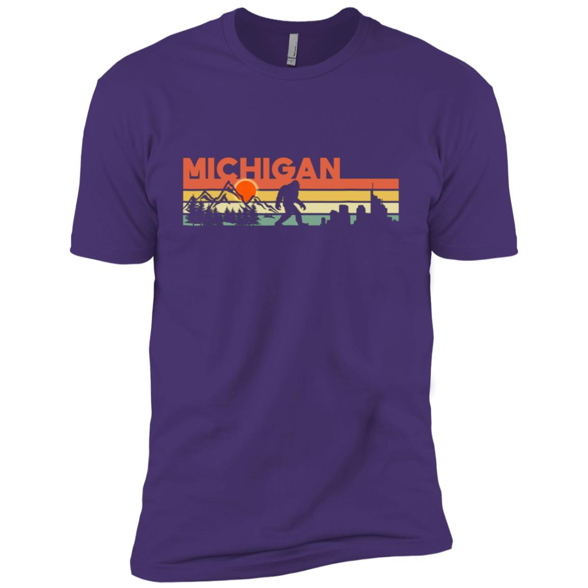 Vintage Michigan Bigfoot Silhouette Sun – Believe! Men Short Sleeve T-Shirt
