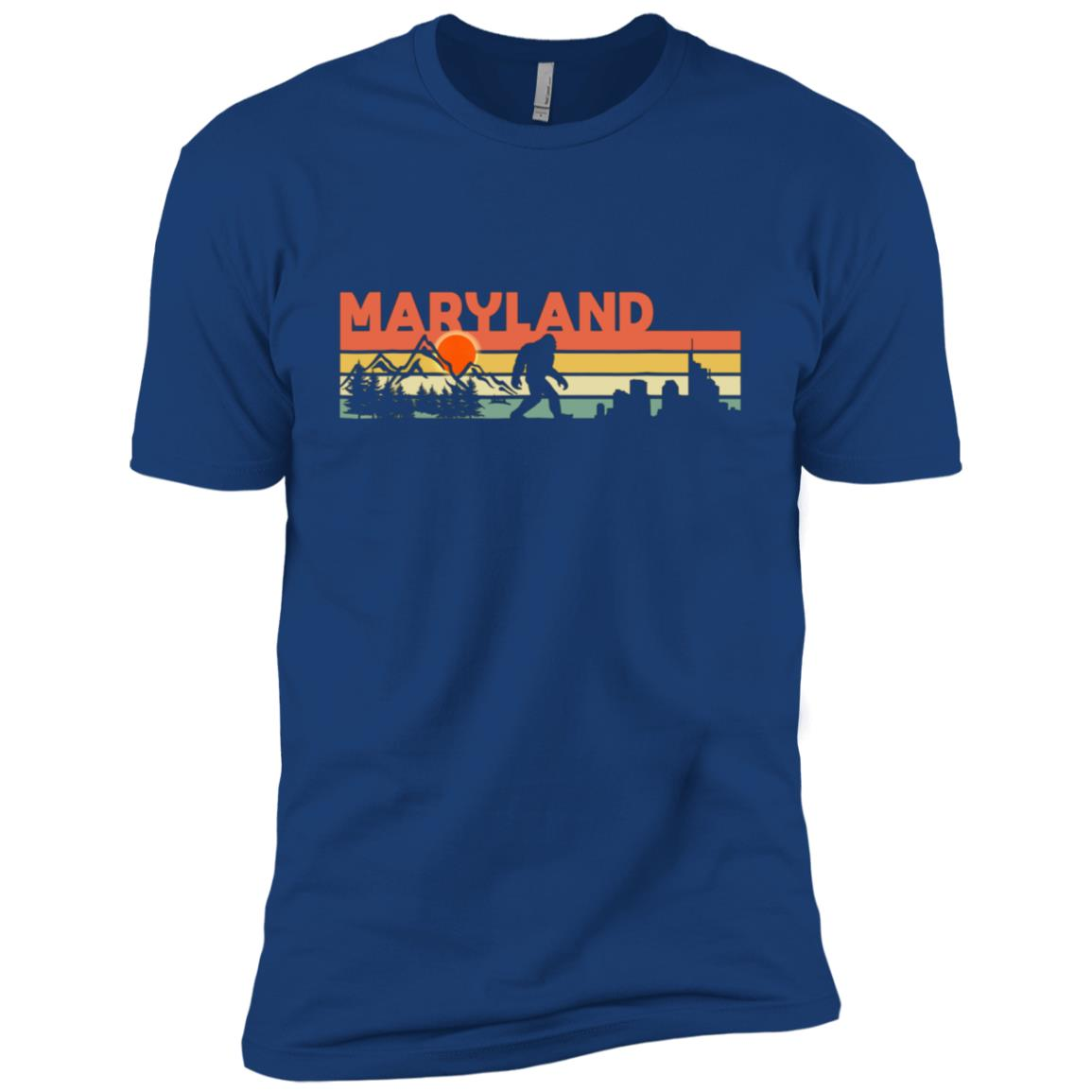 Vintage Maryland Bigfoot Silhouette Sun – Believe! Men Short Sleeve T-Shirt
