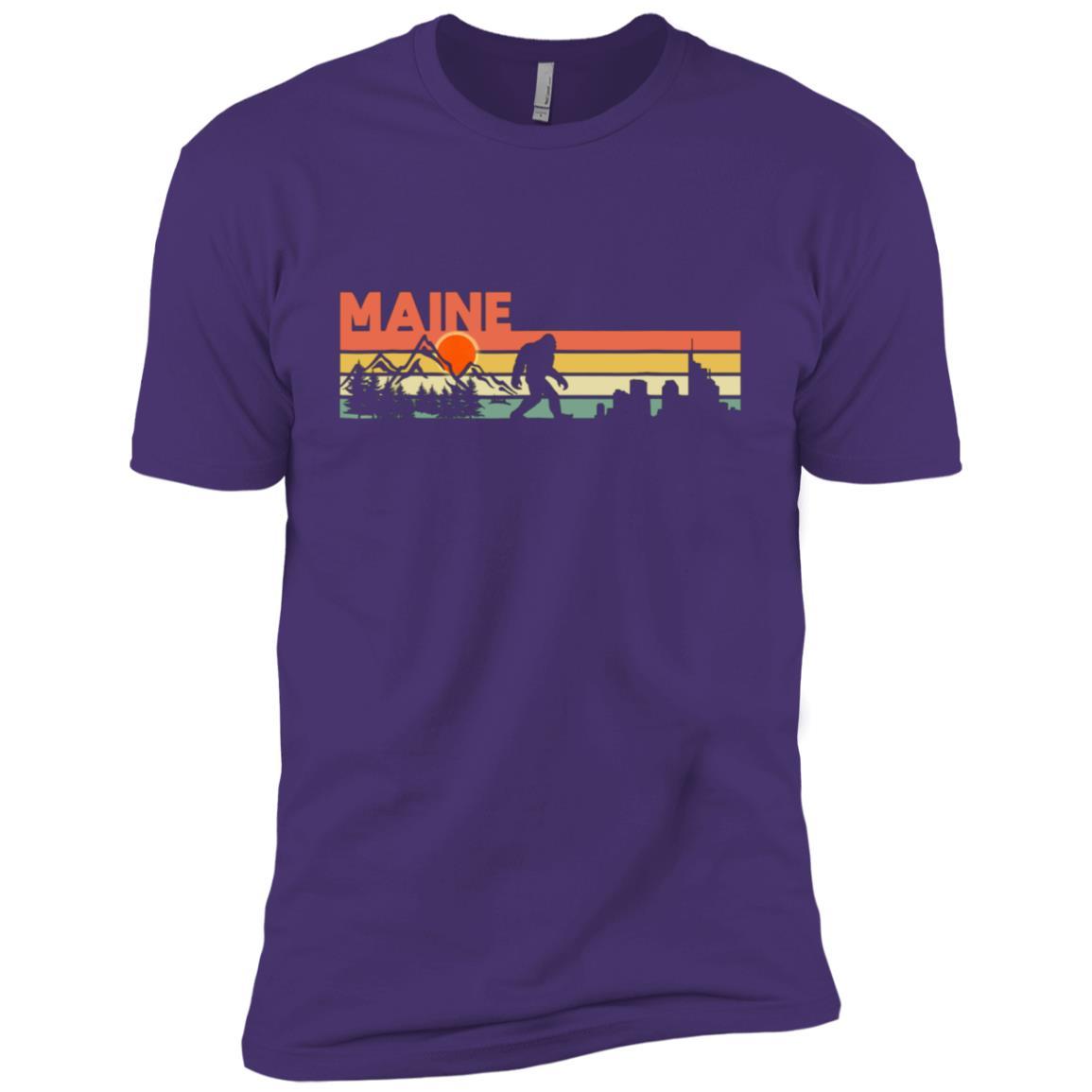 Vintage Maine Bigfoot Silhouette Sun – Believe! Men Short Sleeve T-Shirt