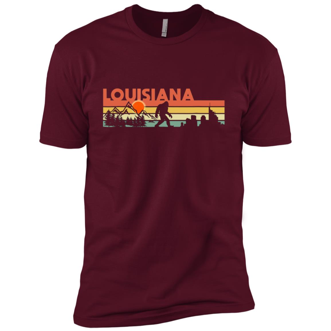 Vintage Louisiana Bigfoot Silhouette Sun – Believe! Men Short Sleeve T-Shirt