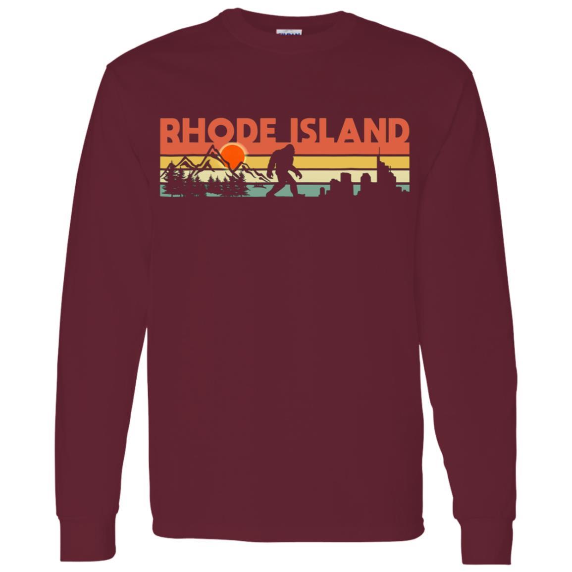 Vintage Rhode Island Bigfoot Silhouette Sun Men Long Sleeve T-Shirt