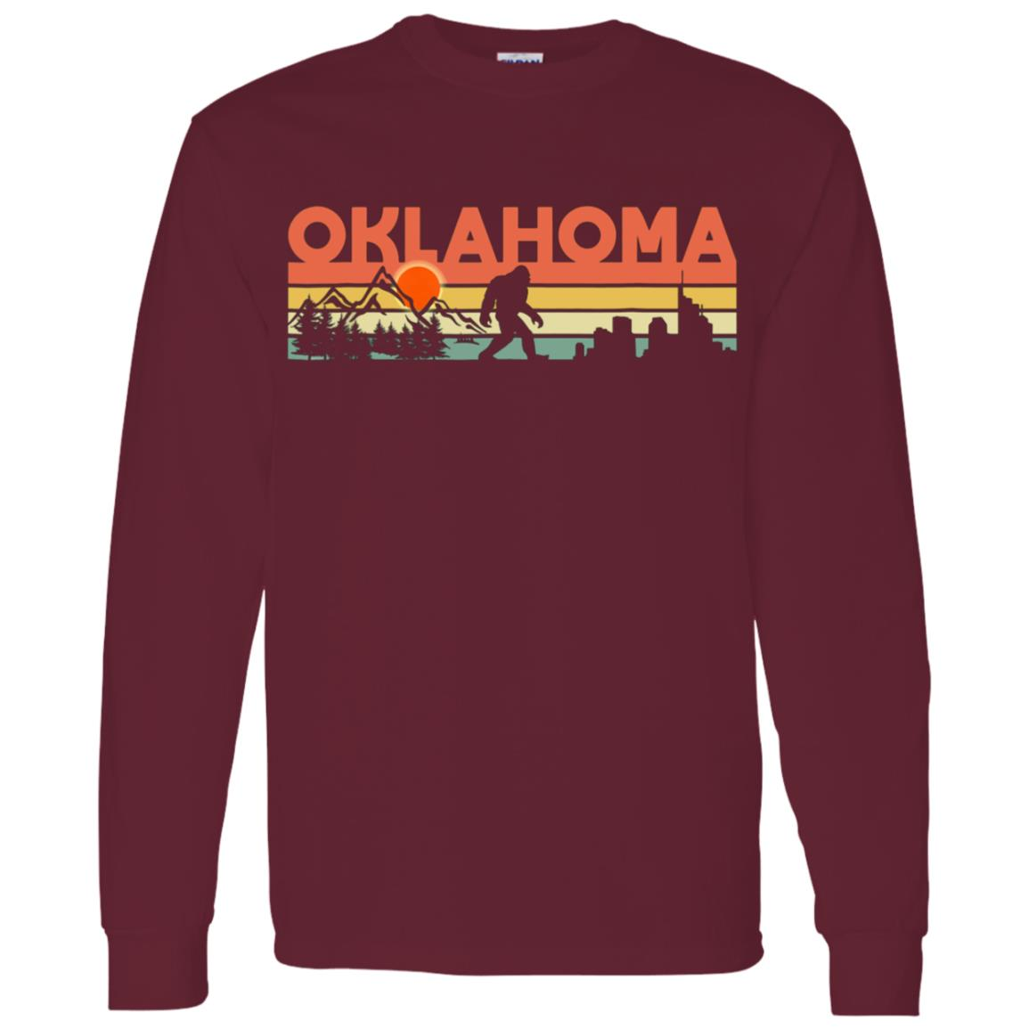 Vintage Oklahoma Bigfoot Silhouette Sun – Believe! Men Long Sleeve T-Shirt
