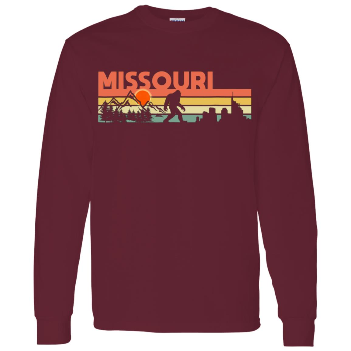 Vintage Missouri Bigfoot Silhouette Sun – Believe! Men Long Sleeve T-Shirt