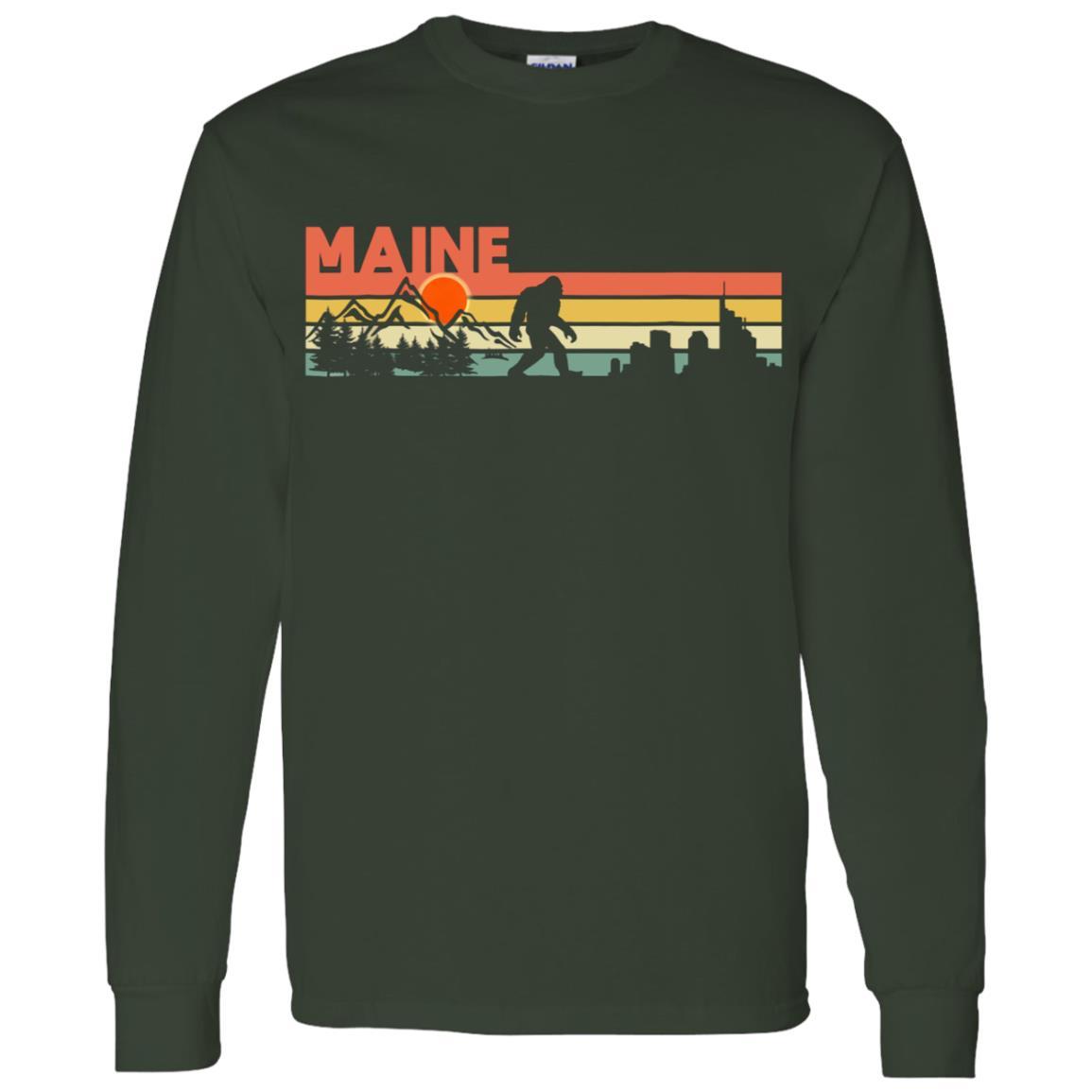 Vintage Maine Bigfoot Silhouette Sun – Believe! Men Long Sleeve T-Shirt