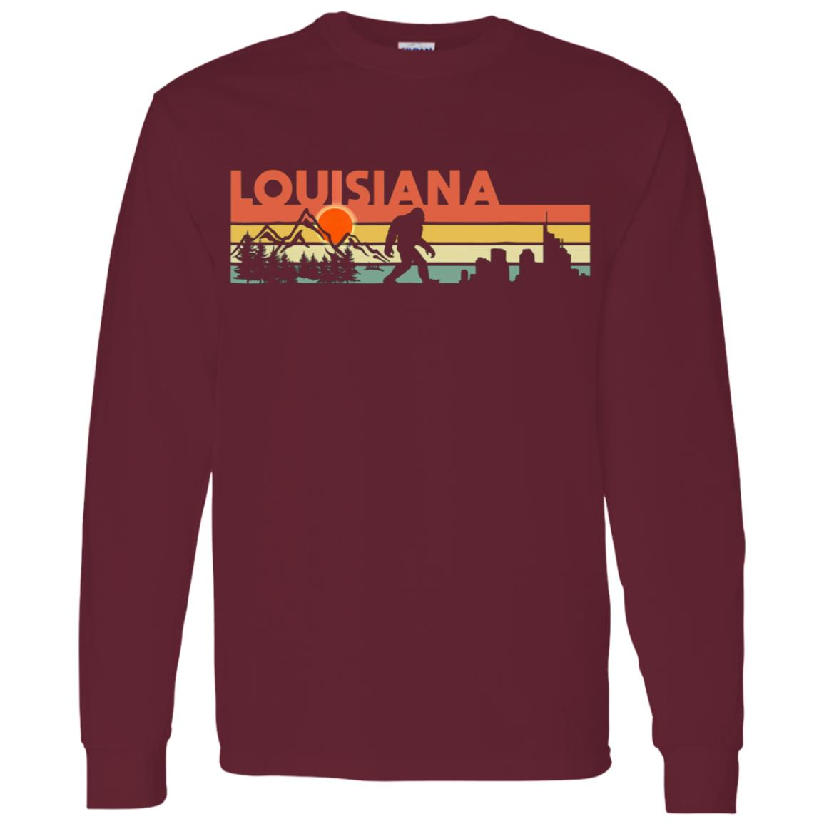 Vintage Louisiana Bigfoot Silhouette Sun – Believe! Men Long Sleeve T-Shirt