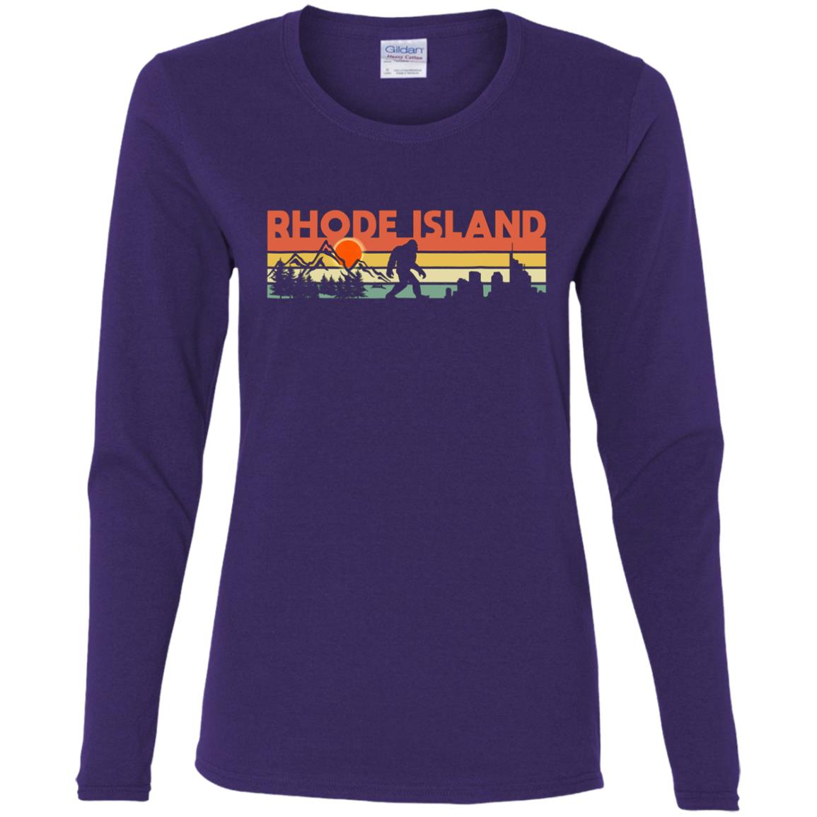 Vintage Rhode Island Bigfoot Silhouette Sun Women Long Sleeve T-Shirt