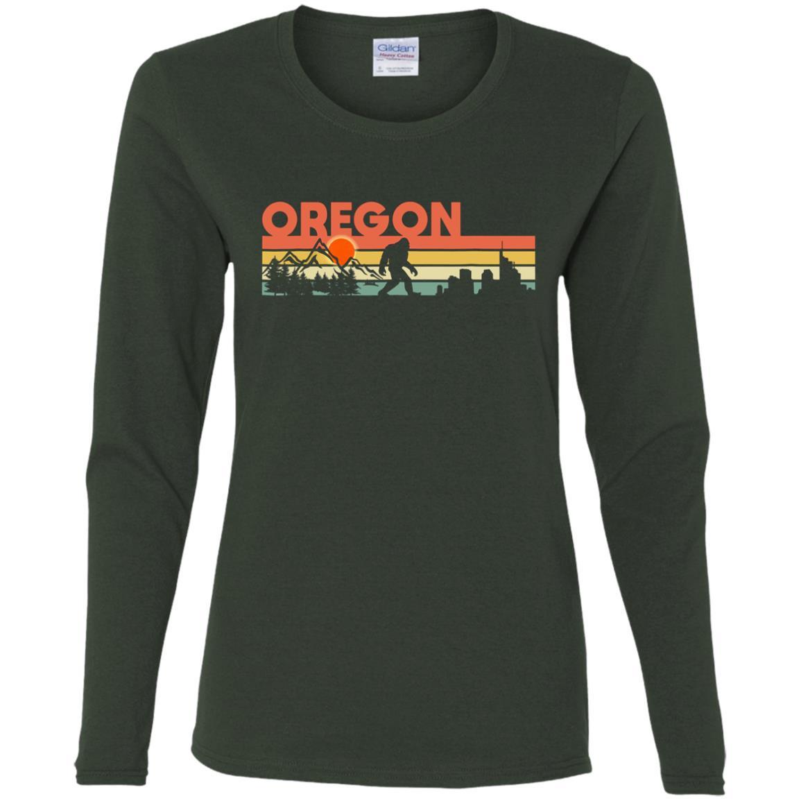 Vintage Oregon Bigfoot Silhouette Sun – Believe! Women Long Sleeve T-Shirt