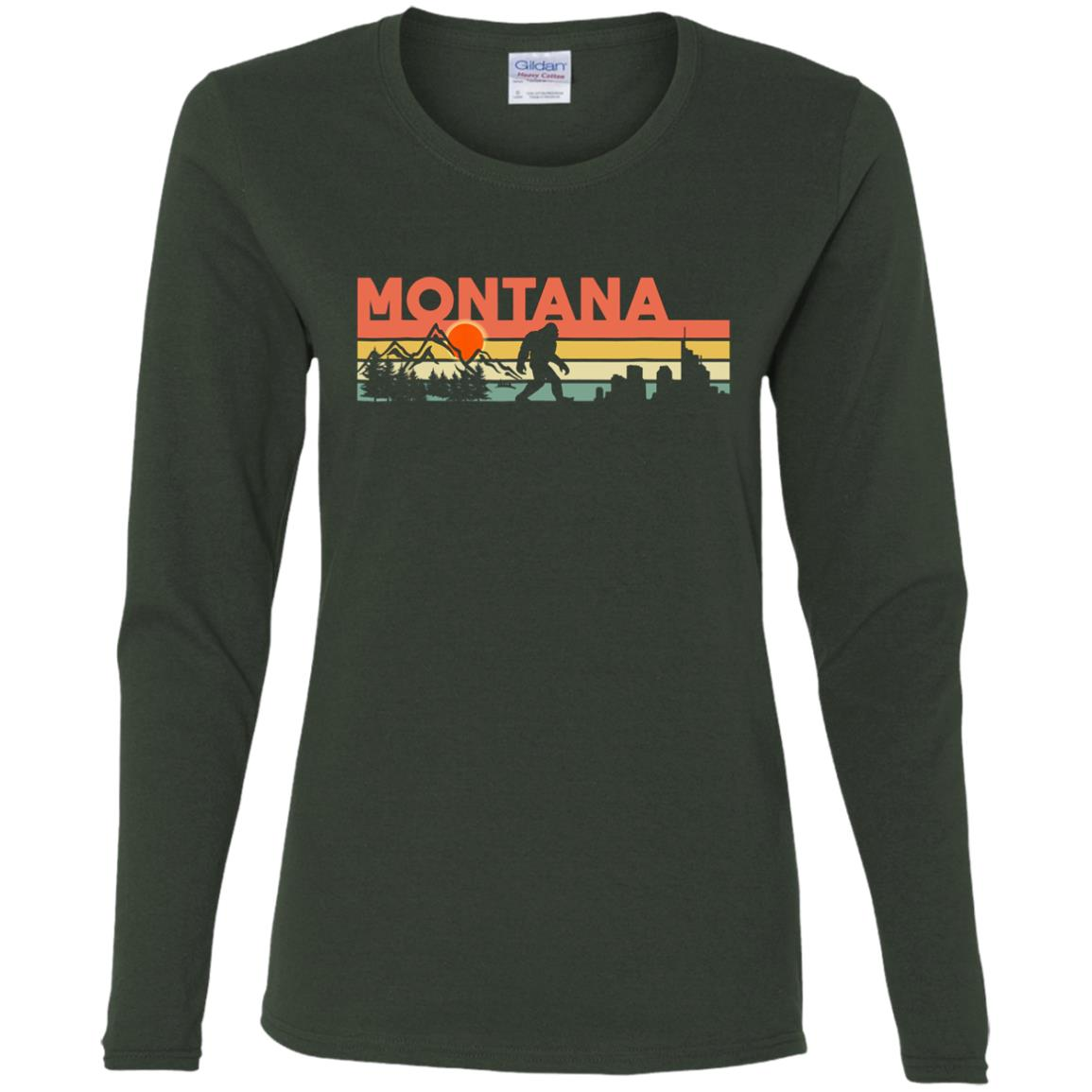 Vintage Montana Bigfoot Silhouette Sun – Believe! Women Long Sleeve T-Shirt