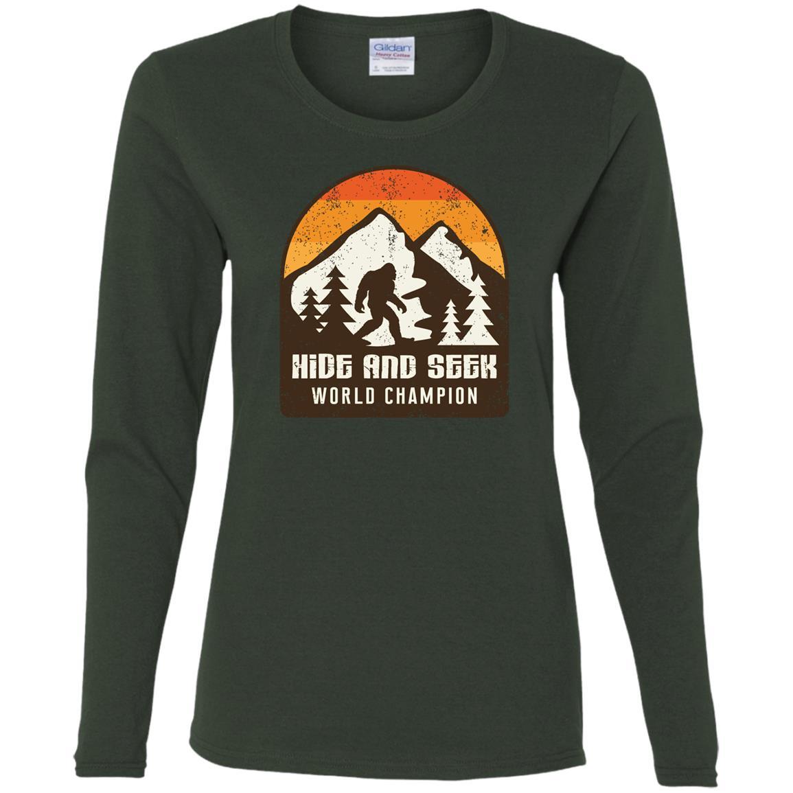 Vintage Hide & Seek World Champion Bigfoot Women Long Sleeve T-Shirt