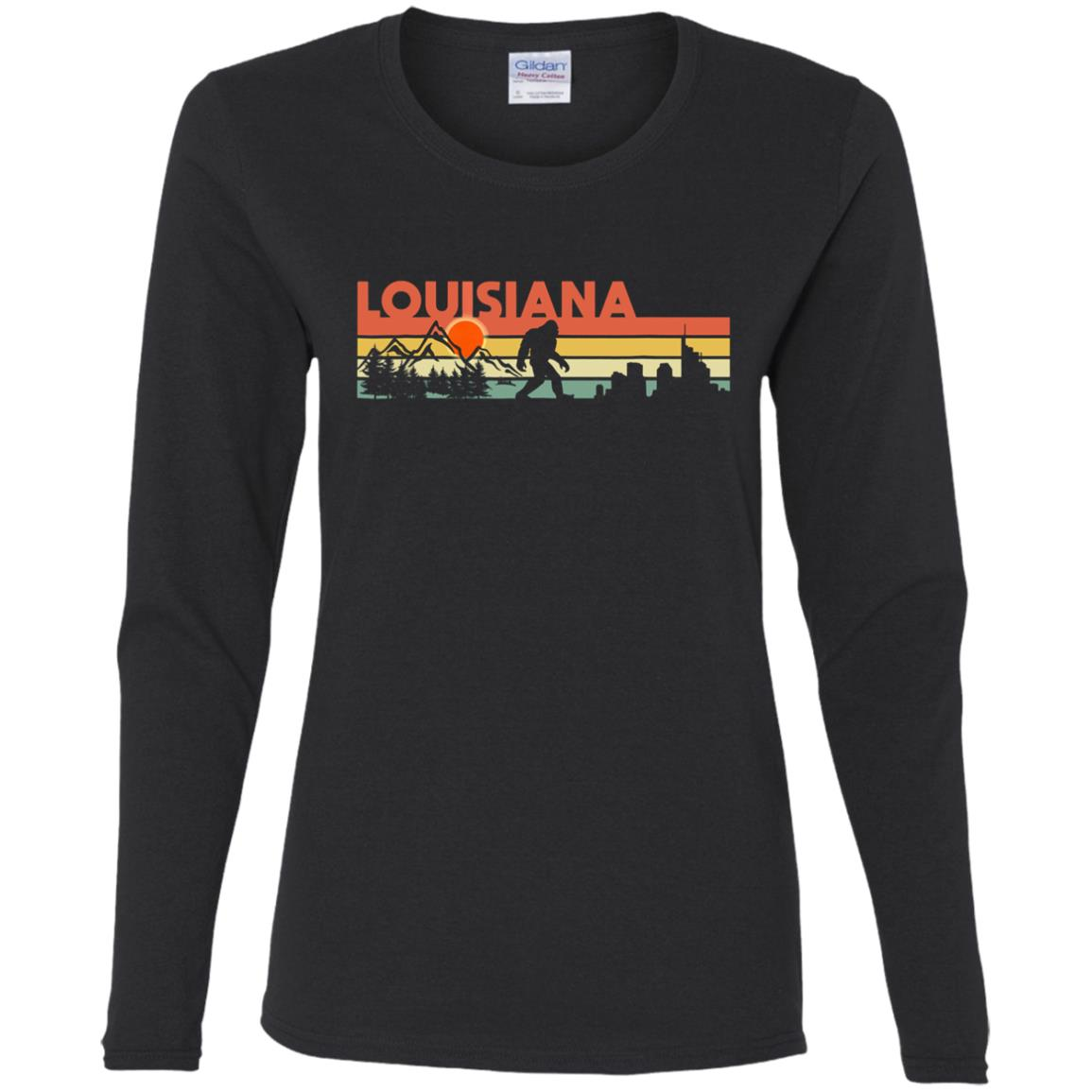 Vintage Louisiana Bigfoot Silhouette Sun – Believe! Women Long Sleeve T-Shirt