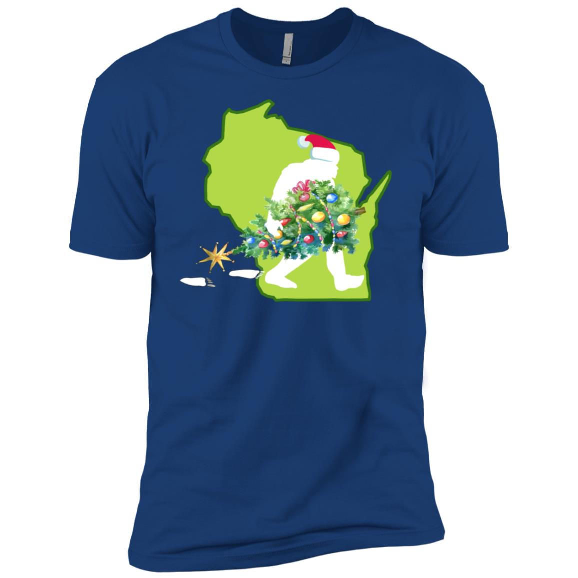 Wisconsin Bigfoot State Christmas Tree Men Short Sleeve T-Shirt