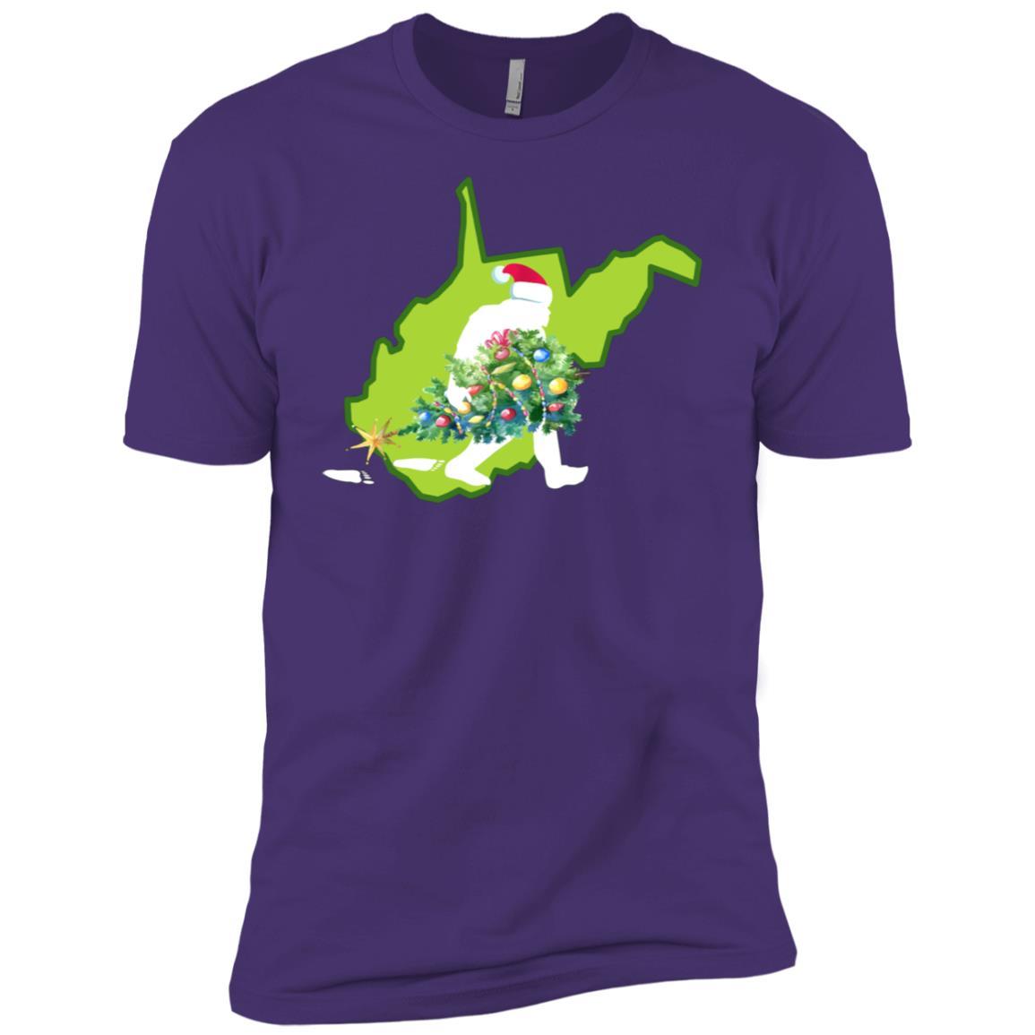 West Virginia Bigfoot State Christmas Tree Men Short Sleeve T-Shirt